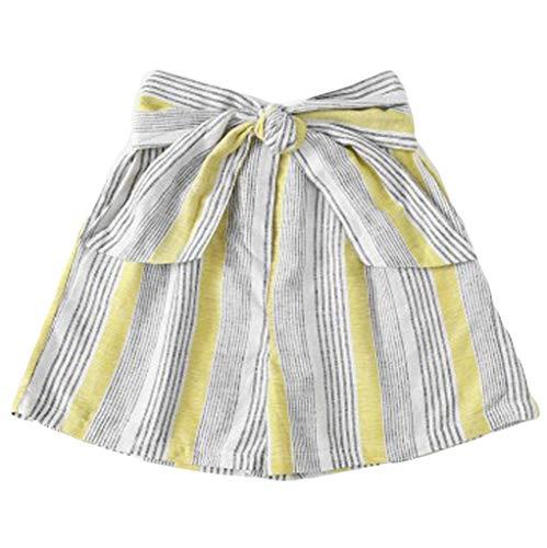 ❤️Sumeimiya Womens Wide Leg Shorts, Striped Mid Waist Loose Beach Pants Casual Bow Shorts Student Shorts Pants Yellow