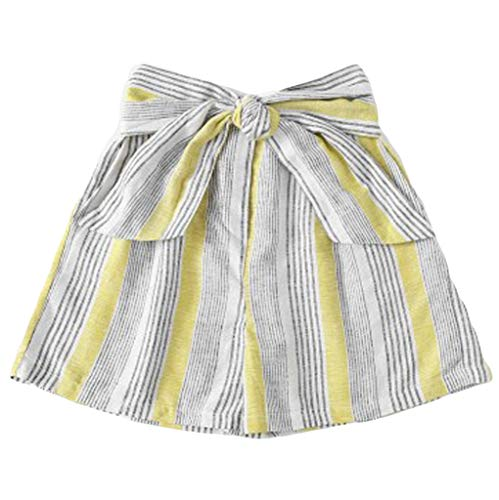 - kaifongfu Women's Casual Beach Striped Mid Waist Comfort Cute Loose Shorts Student Shorts Pants with Belt(Yellow,M)