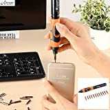 Full-automatic Electric Screwdriver Kit Mini Pocket Power Screwdriver Small Cordless Power Precision Screwdriver Set with 12-Tip LED Light (Black + Orange)