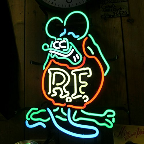 Urby® Rat Fink Mouse RETRO RF Real Glass Neon Light Sign Home Beer Bar Pub Windows Garage Wall Sign 19''x15'' R2
