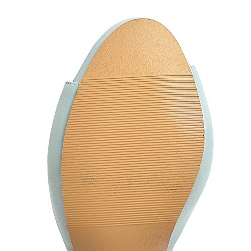 PU Femme AgooLar GMBLA013100 à Cuir Bleu Talon Ouverture Boucle Sandales Correct d'orteil T6qqwHcU5