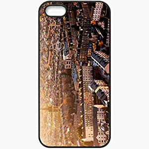 Unique Design Fashion Protective Back Cover For iPhone 5 5S Case Cityscape Buildings View From Above Black