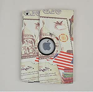 Birdnestoffice Vintage America Flag Building Pattern 360 Degrees Rotating Folding Stand Flip Case Cover Protector for Apple iPad Air