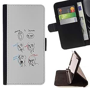 BullDog Case - FOR/Samsung Galaxy Note 4 IV / - / funny artist how to sketch art smiley /- Monedero de cuero de la PU Llevar cubierta de la caja con el ID Credit Card Slots Flip funda de cuer