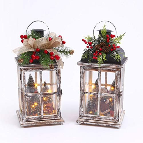 Gerson Battery Operated Lighted Wood Lantern with Christmas Scene (Set of 2) Santa and Red Truck with Christmas Trees by Gerson