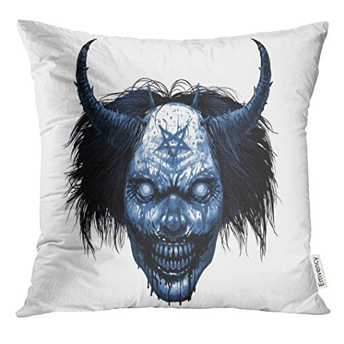 Golee Throw Pillow Cover Red Satan Hell Evil Smiling Clown Makeup with Long Hair and Satanic Pentagram Horror Halloween Character Decorative Pillow Case Home Decor Square 16x16 Inches -