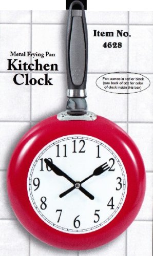 Metal Frying Pan Kitchen Clock (Red) by Etna by Etna