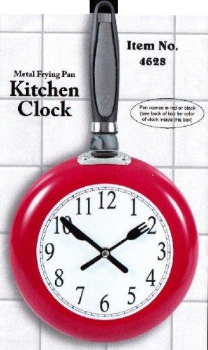 Beautiful Metal Frying Pan Kitchen Clock (Red) By Etna