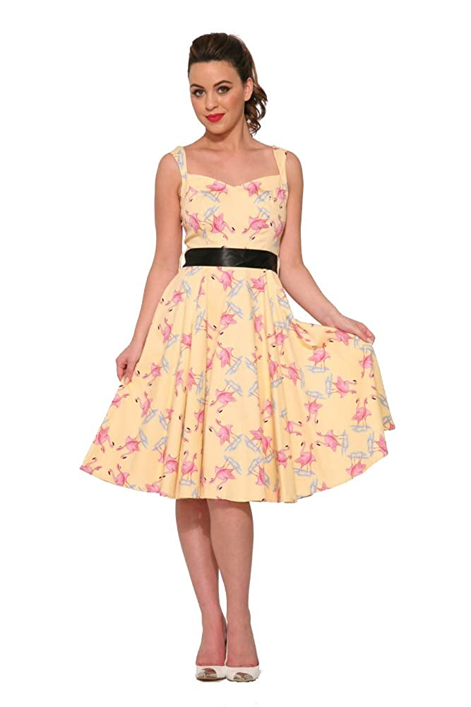 1950s Dresses, 50s Dresses | 1950s Style Dresses Hearts & Roses Flamingo Love Swing Dress in Yellow (Shipped from The US and US Sizes) $64.88 AT vintagedancer.com