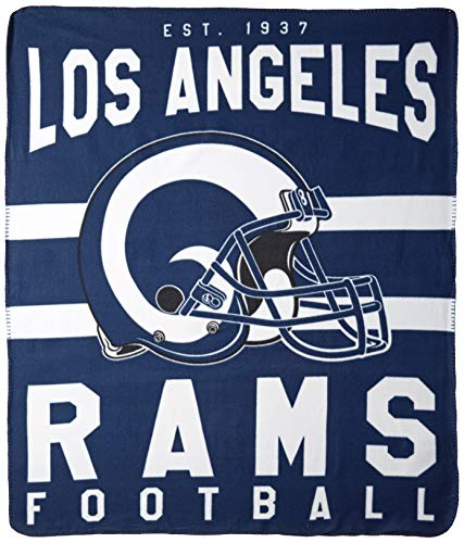 The Northwest Company NFL Los Angeles Rams Singular Fleece Throw Blanket Singular Fleece Throw Blanket, Blue, One Size