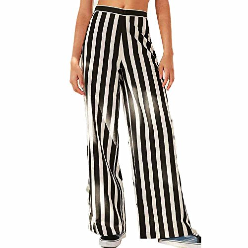 Women Xander Lounge Palazzo Stripe Pants With High Waist, Wide Leg, Nature Rise (L) (Asian Screen Lamp)
