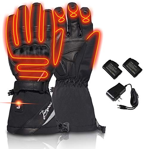 LONHEO Heated Gloves Motorcycle Rechargeable Battery Waterproof Full Finger Protective Motorcycle Motorbike Riding Gloves (XL)