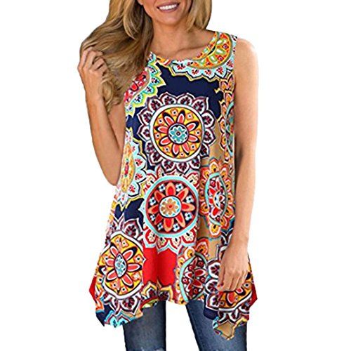 Womens Blouse and Shirt, Gillberry Women Boho Floral Long Maxi Evening Party Cocktail Beach Mini Dress Sundress (Red, XXL)