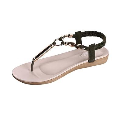 Women Beach Flat Sandals - Bohemia Bead Peep-Toe Flip Flops Shoes