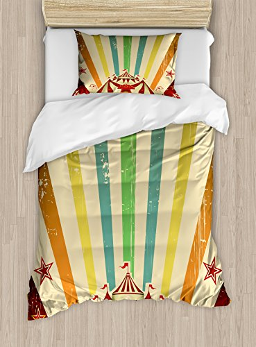Circus Quilt Set - Ambesonne Vintage Rainbow Twin Size Duvet Cover Set, Old Circus Carnival Advertisement Theme Stripes Stars and Fun Fair Tent, Decorative 2 Piece Bedding Set with 1 Pillow Sham, Multicolor