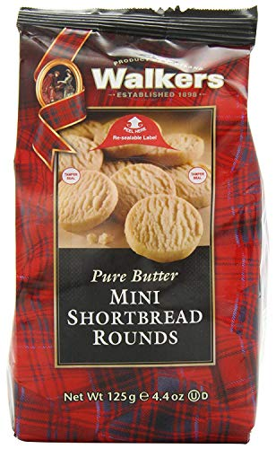 Walkers Shortbread Mini Shortbread Rounds, Traditional Pure Butter Shortbread Cookies, 4.4-Ounce Bags (6 Bags)