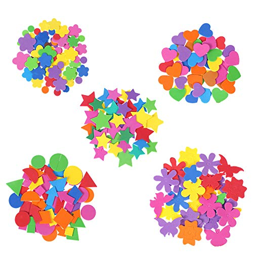 240 Pcs Mini Foam Stickers,Colorful Self Adhesive Geometry Foam Stickers,Stickers For Kids,Self Adhesive Diy Craft Sticker.suitable For Children's Crafts,Greeting Cards And Home Decoration. (5 Colors) ()