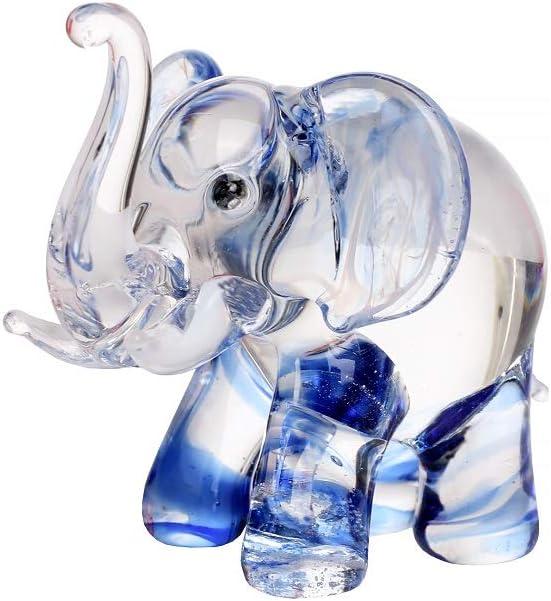 Hand Blown Art Glass, Blue Elephant Miniature Animals Collection, Dollhouse Miniatures.