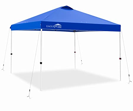 EAGLE PEAK 10 x 10 Pop Up Canopy Tent Instant Outdoor Canopy Straight Leg Shelter with 100 Square Feet of Shade Blue