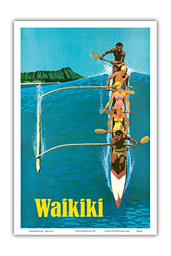 Pacifica Island Art Waikiki - Outrigger Canoe Surfing - United Air Lines - Vintage Hawaiian Travel Poster by Stan Galli c.1960 - Hawaiian Master Art Print - 12 x ()