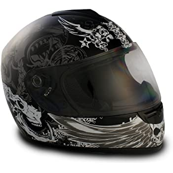 VCAN V136 Graphic Full Face Helmet (Dark Angel Black, Large)