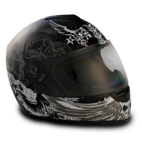 VCAN V136 Graphic Full Face Helmet (Dark Angel Black, Large)