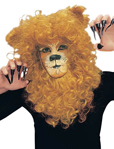 Lion Mane Masquerade Wig Curly Ginger Facial Hair King Costume Accessory -