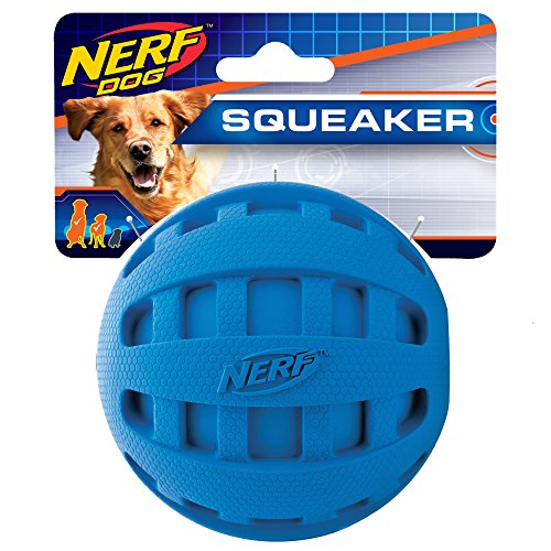 Holly Ball - Nerf Dog Checker Squeak Rubber Ball Dog Toy, Medium/Large, Blue