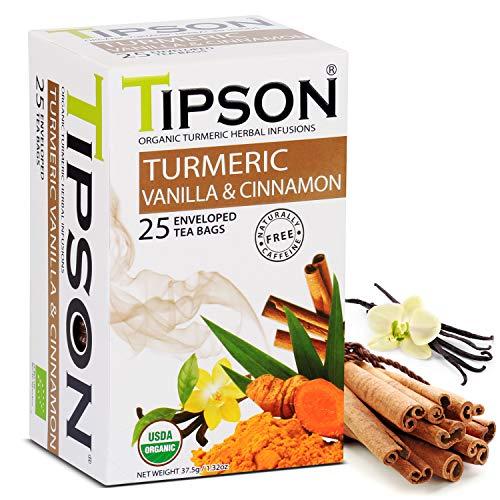 Tipson Organic Turmeric Herbal Tea - Vanilla & Cinnamon Flavor - 25 Bags Per Box - Traditional Herbal Tea - Keto/Paleo - Basilur