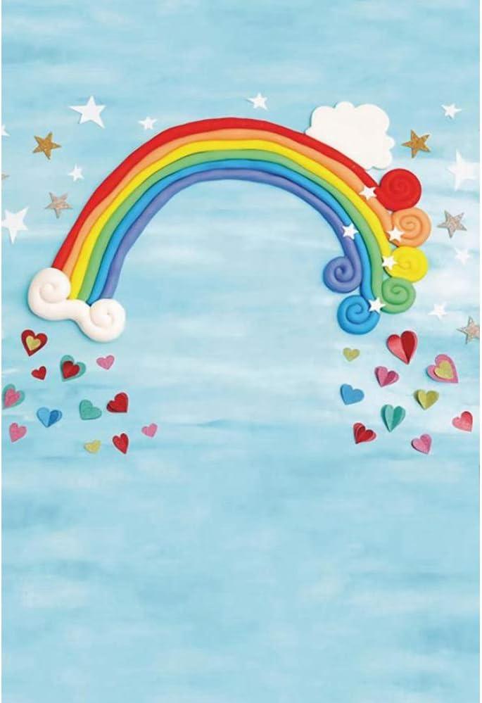 YEELE 8x10ft Girls Toddler Newborn Infant Photos Backdrop Handmade Rainbow Cloud Photography Background Baby Shower Birthday Party Daughter Portrait Cake Smash Photobooth Props Digital Wallpaper