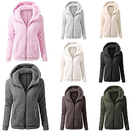 Hylong Fashion Autumn Warm Plush Hooded Faux Fur Lamb Wool Coat Zipper V Neck Thick Warm Fur Jacket Regular Full Sleeve Solid Tops Pink XL