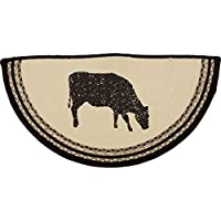 VHC Brands 38027 Classic Country Farmhouse Flooring-Sawyer Mill White Half Circle Jute Rug, One Size, Cow