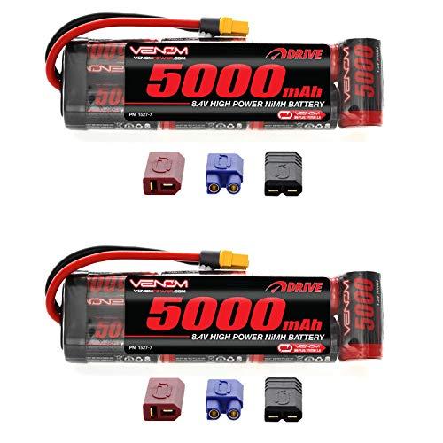 Venom 8.4V 5000mAh 7-Cell NiMH Battery Flat with Universal 2.0 Plug (Traxxas / Deans / EC3) x2 Packs
