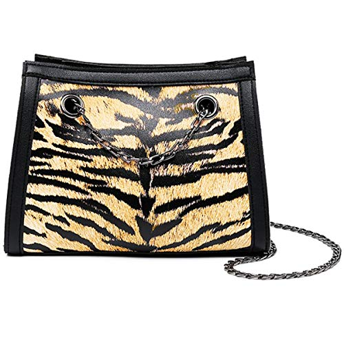 Women's Leather Cross Body Bag Tiger Leopard Prints,Single Chains Shoulder Purse (Yellow Tiger)