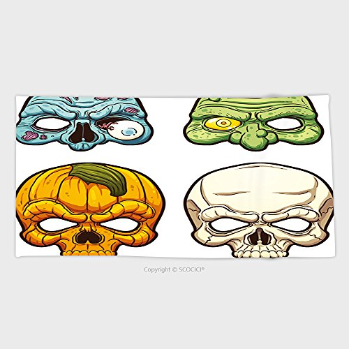 27.5W x 11.8L Inches Custom Cotton Microfiber Ultra Soft Hand Towel Halloween Masks Vector Clip Art Illustration With Simple Gradients Each On A Separate Layer 315183266