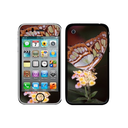 Iphone 3g 3 Gs Flower (Graphics and More Protective Skin Sticker Case for iPhone 3G 3GS - Non-Retail Packaging - Butterfly on Flower)