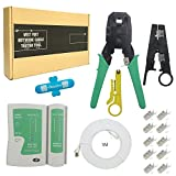 New Ethernet cable tester +Network Crimper +16.4ft CAT7 Cat7e Networking cord + 10 RJ45 RJ-45 CAT7 Modular Plugs 6 in 1 tools kit