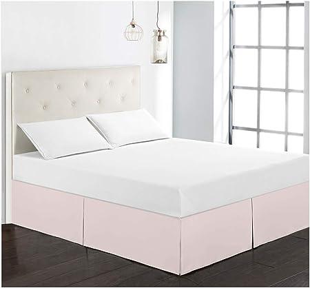Jupe de lit en Poly Coton Durable,Qualit/é Deavable Qualit/é de lh/ôtel et R/ésistance /à labrasion Rose Single GUOCU Cache Sommier Microfibre