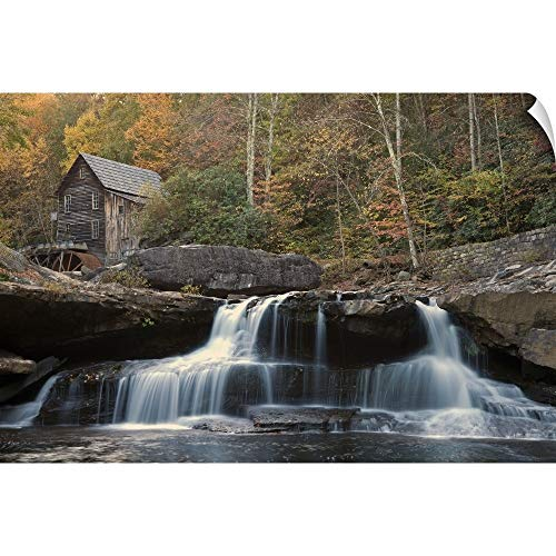 USA, West Virginia, Babcock State Park, Mill on Creek in Forest Wall Peel Art Print, 36