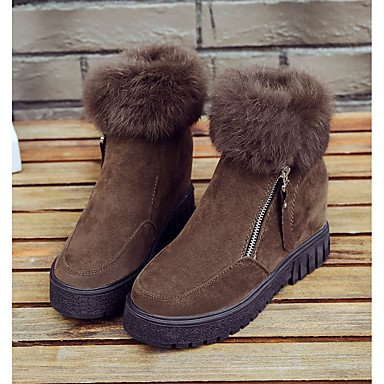Flat Fluff Boots For EU36 Casual Boots Heel Lining Suede UK4 Winter Green Black RTRY Women'S US6 Shoes Toe Brown Mid Fashion CN36 Calf Boots Comfort Round Zipper IwqCvv
