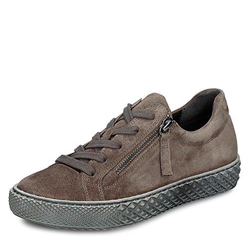 Cuero De Marrón Gris Para Zapatos Gabor Cordones Oscuro Mujer Htwq5znFx