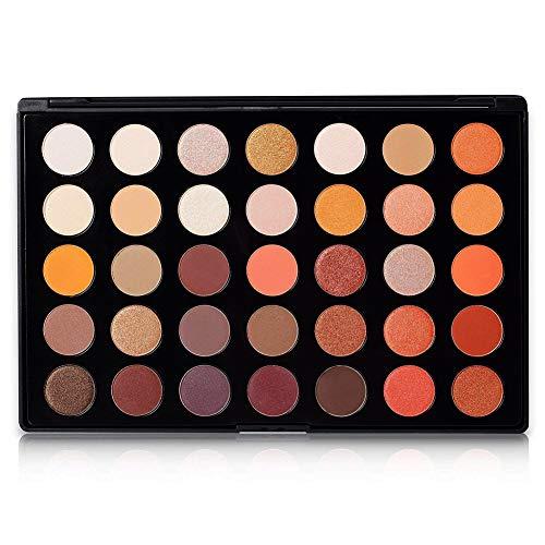 DE'LANCI 35 Color Eyeshadow Makeup Palette Set - High Pigmented - Professional Vegan Nudes Warm Natural Shimmer Matte Eye Shadow Cosmetic Kit #35O ()