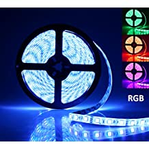 LED Light Strip, AllBlue™ Rope Lights, 16.4ft RGB 5050smd 300led Waterproof Flexible Led Light Strip Lamp with 44Keys IR Remote Controller and Power Supply for Cars Trucks Boats Kitchen Bedroom Garden - RGB