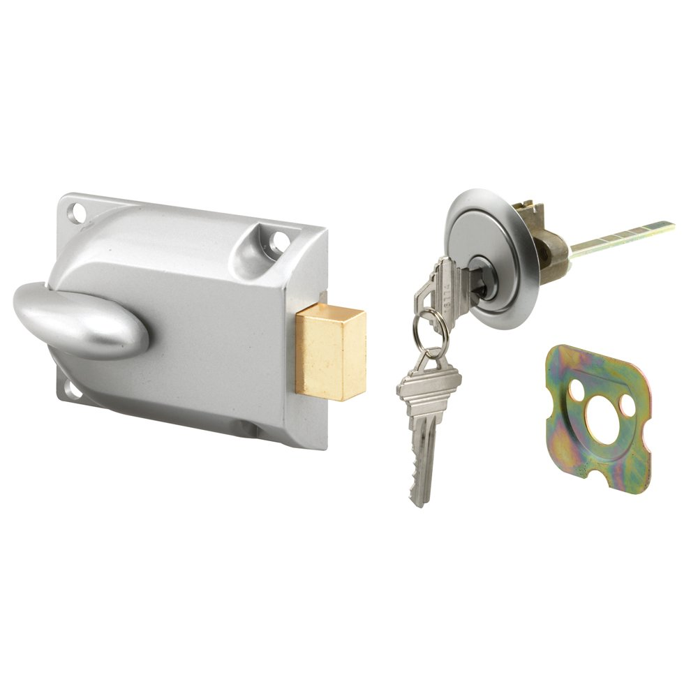 Prime-Line Products GD 52119 Deadbolt Lock, Center Mount with Key Cylinder, Aluminum Painted