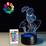 Super Hero Night Light for Kids Birthday Gift 3D Illusion Lamp LED Desk Gifts Smart Touch & Remote Control Bedroom Nursery Light 16 Color Display (Spiderman VER1)(1PC)