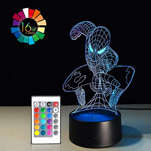 - Night Light for Kids Birthday Gift 3D Illusion Super Hero Lamp LED Desk Gifts Smart Touch & Remote Control Bedroom Nursery Light 16 Color Display (Spiderman VER1)(1PC)