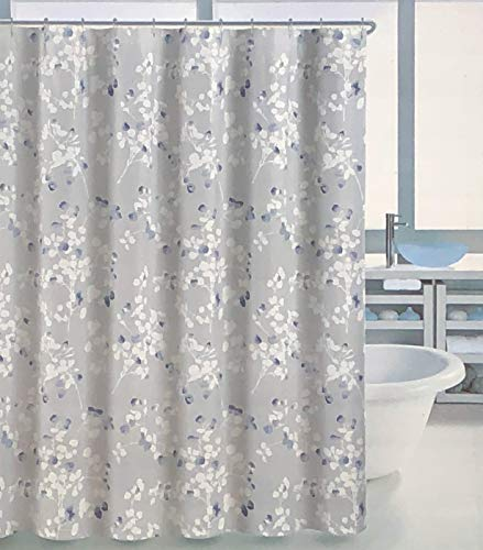 (Tahari Fabric Shower Curtain Blue and White Floral Leaves Branches Pattern on Light Gray - Graphic Branches)