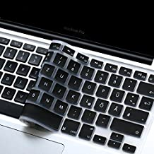 """Masino® GERMANY Language Silicone Keyboard Cover Skin for MacBook Air 13"""" MacBook Pro with or without Retina Display 13""""15"""" 17"""" Apple Wireless Bluetooth Keyboard MC184LL/B Ultra Thin (Black )"""