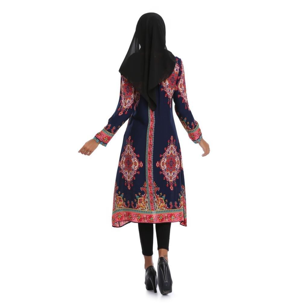 💕 Faldas Largas Mujer Verano Boho, Zolimx Mujeres Musulmanas Impresión Islámica Mangas Largas Tallas Grandes Medio Oriente Vestido Largo Fiesta de Ropa ...