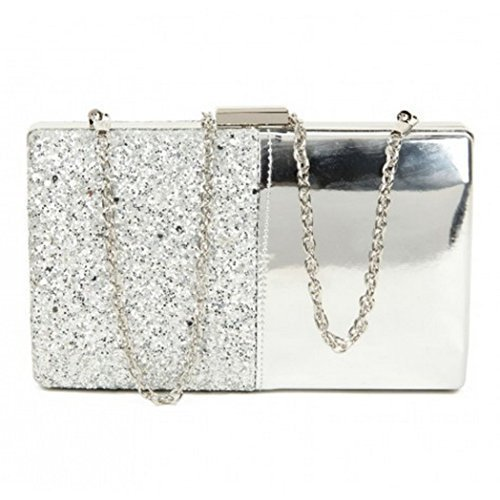 Clutch Ladies Womens Evening Dressy Occasion I10 Metallic Hand Party Glitter Prom Silver Bags Hard Case nPqSAnxTw